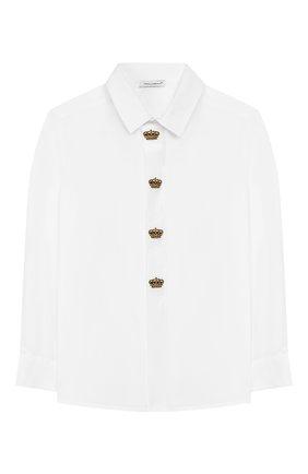 Детская хлопковая рубашка DOLCE & GABBANA белого цвета, арт. L43S14/G7VN0/2-6 | Фото 1