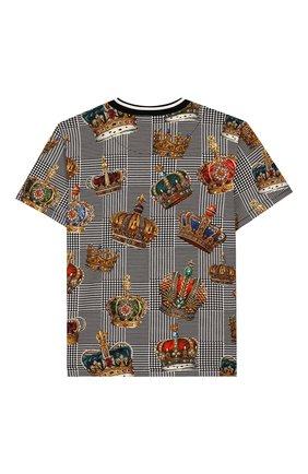 Детская хлопковая футболка DOLCE & GABBANA черно-белого цвета, арт. L4JTBK/G7VYI/2-6 | Фото 2