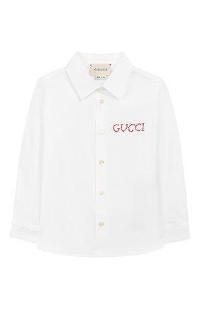 Детский хлопковая рубашка GUCCI белого цвета, арт. 547088/XWAAQ | Фото 1