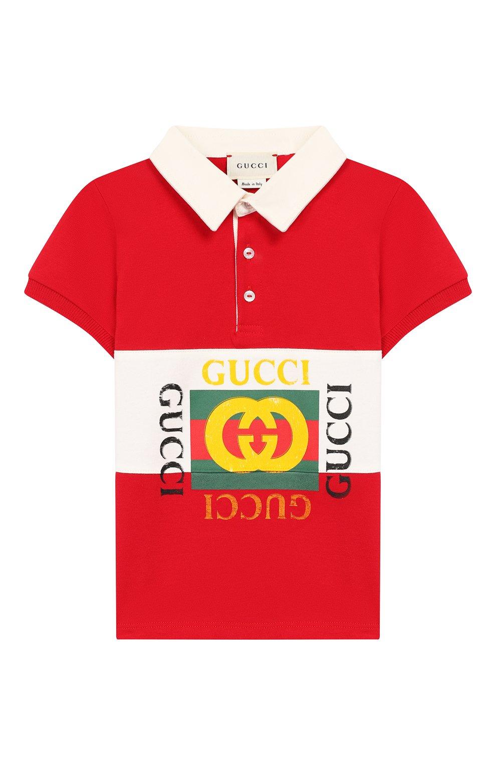 Детский хлопковое поло GUCCI красного цвета, арт. 586969/XJAAM   Фото 1