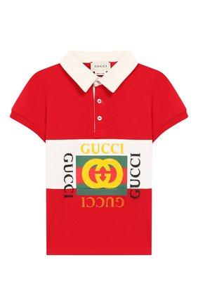 Детский хлопковое поло GUCCI красного цвета, арт. 586969/XJAAM | Фото 1