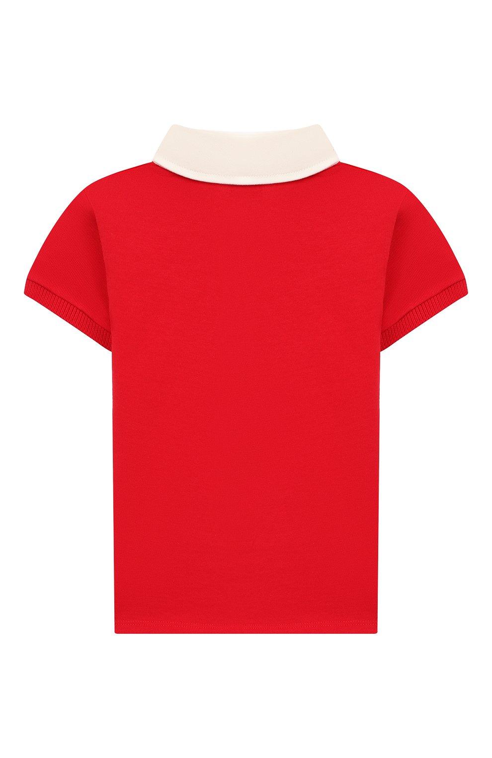 Детский хлопковое поло GUCCI красного цвета, арт. 586969/XJAAM   Фото 2