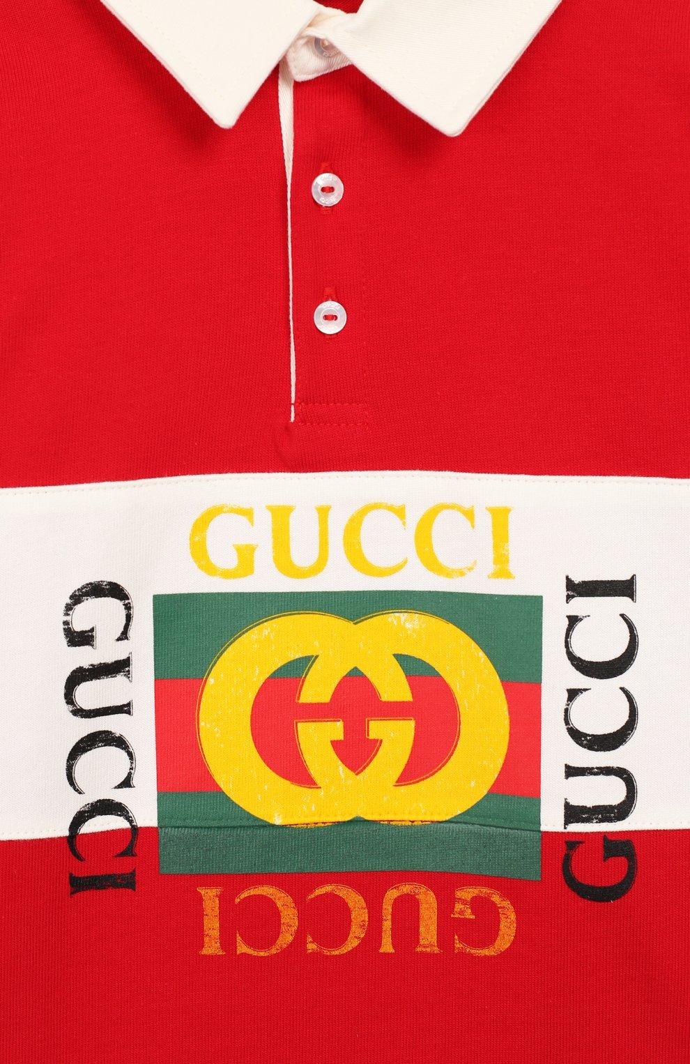 Детский хлопковое поло GUCCI красного цвета, арт. 586969/XJAAM   Фото 3