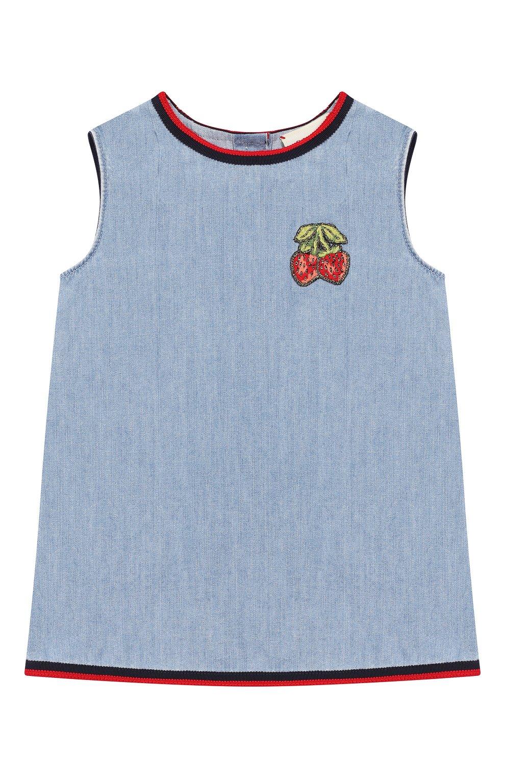 Женская хлопковое платье GUCCI голубого цвета, арт. 595892/XDA10   Фото 1