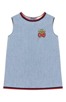 Женский хлопковое платье GUCCI голубого цвета, арт. 595892/XDA10 | Фото 1