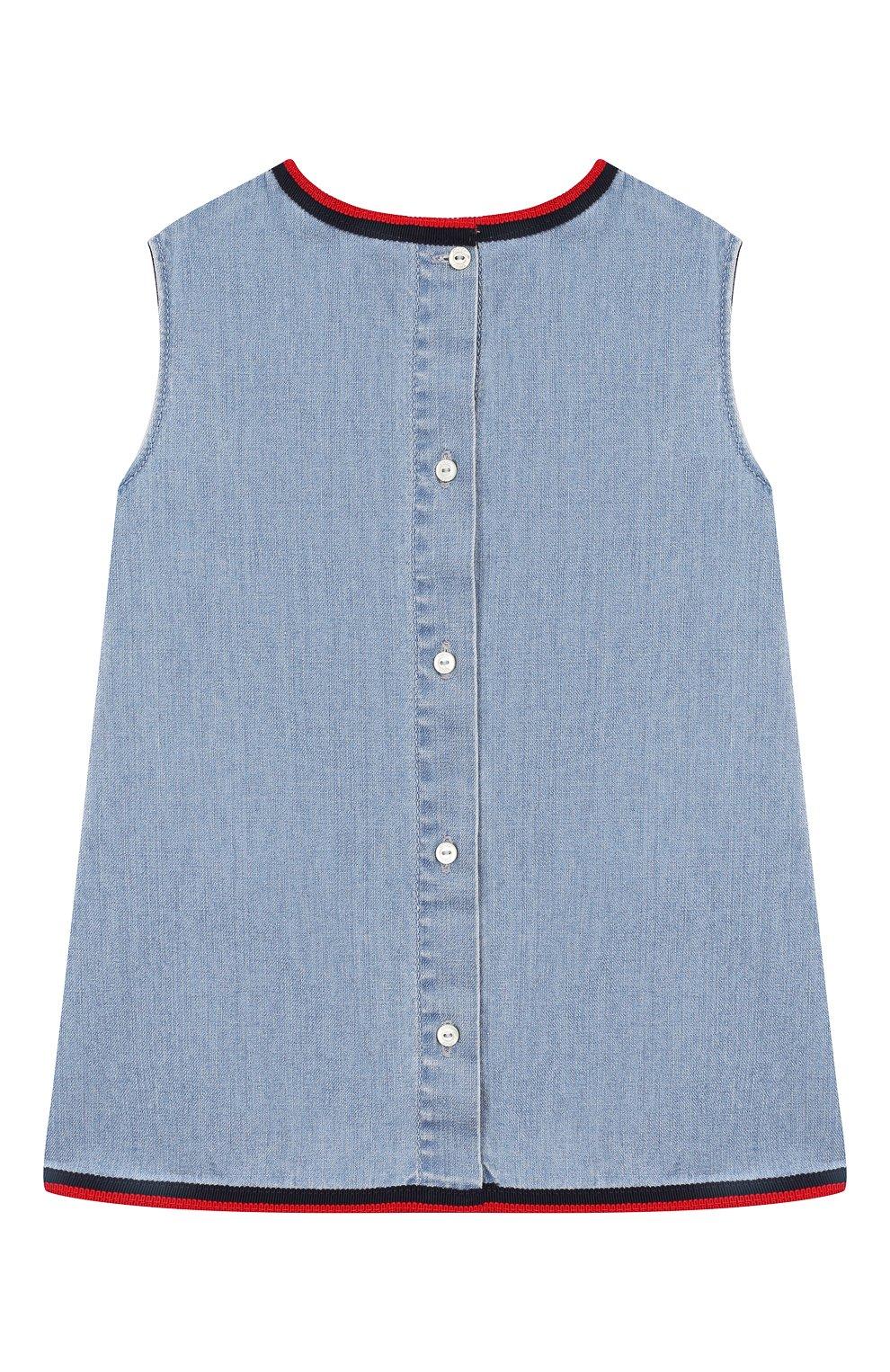 Женская хлопковое платье GUCCI голубого цвета, арт. 595892/XDA10   Фото 2