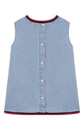 Женский хлопковое платье GUCCI голубого цвета, арт. 595892/XDA10 | Фото 2