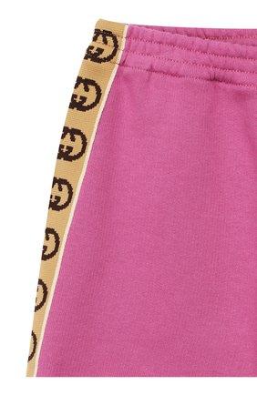 Детские хлопковые джоггеры GUCCI розового цвета, арт. 596148/XJB8Z | Фото 3