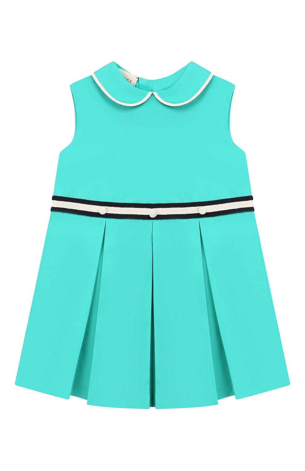 Женская хлопковое платье GUCCI бирюзового цвета, арт. 604648/ZB365 | Фото 1