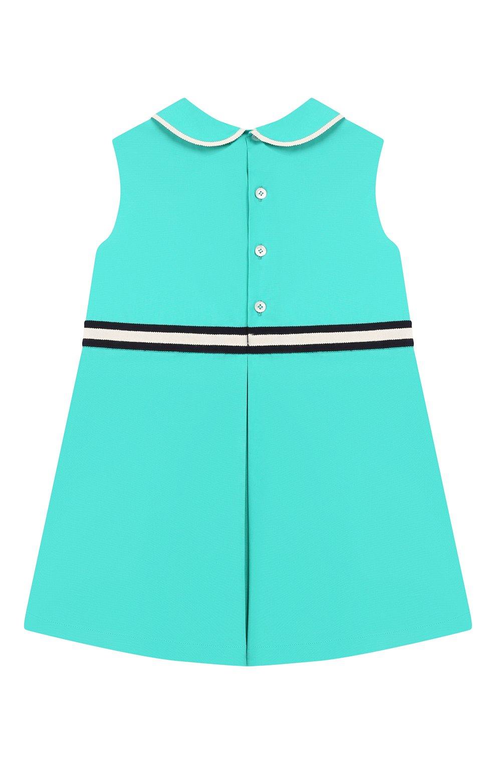 Женская хлопковое платье GUCCI бирюзового цвета, арт. 604648/ZB365 | Фото 2