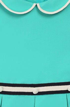Женская хлопковое платье GUCCI бирюзового цвета, арт. 604648/ZB365 | Фото 3