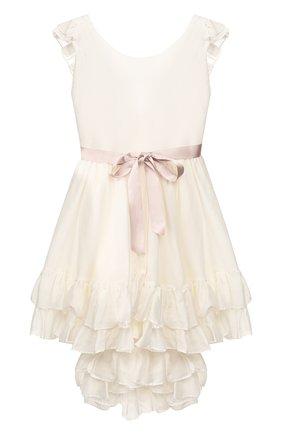 Детское платье из хлопка и шелка DESIGNERS CAT бежевого цвета, арт. 100000K01000128/4A-8A | Фото 1
