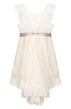 Детское платье из хлопка и шелка DESIGNERS CAT бежевого цвета, арт. 100000K01000128/4A-8A | Фото 2