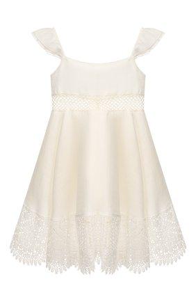 Детское льняное платье DESIGNERS CAT белого цвета, арт. 100000K01000317/4A-8A | Фото 1