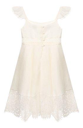Детское льняное платье DESIGNERS CAT белого цвета, арт. 100000K01000317/4A-8A | Фото 2