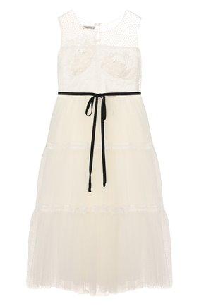 Детское платье DESIGNERS CAT белого цвета, арт. 100000K01000400/4A-8A | Фото 1
