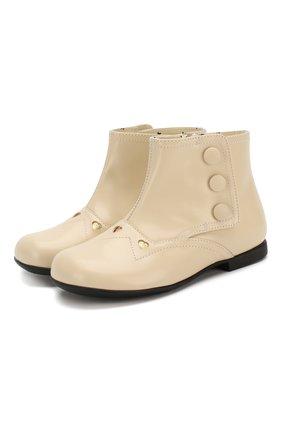 Детские кожаные ботинки GUCCI белого цвета, арт. 580113/D73L0 | Фото 1