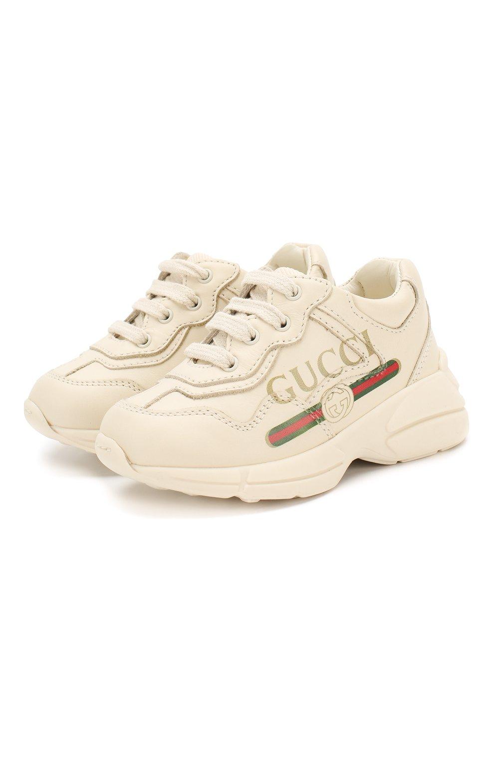 Детские кожаные кроссовки GUCCI белого цвета, арт. 579317/DRW00   Фото 1 (Материал внутренний: Натуральная кожа; Стили: Гранж)