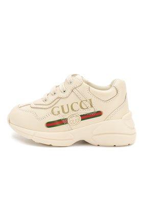 Детские кожаные кроссовки GUCCI белого цвета, арт. 579317/DRW00 | Фото 2