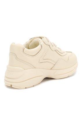 Детские кожаные кроссовки GUCCI белого цвета, арт. 579317/DRW00   Фото 3 (Материал внутренний: Натуральная кожа; Стили: Гранж)