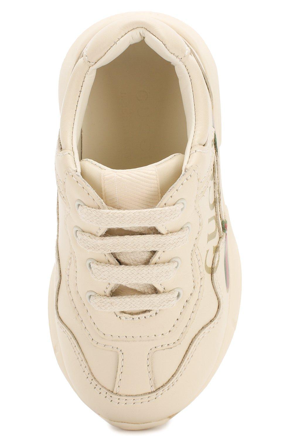 Детские кожаные кроссовки GUCCI белого цвета, арт. 579317/DRW00   Фото 4 (Материал внутренний: Натуральная кожа; Стили: Гранж)