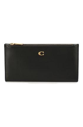 Женские кожаный кошелек COACH черного цвета, арт. 78384 | Фото 1