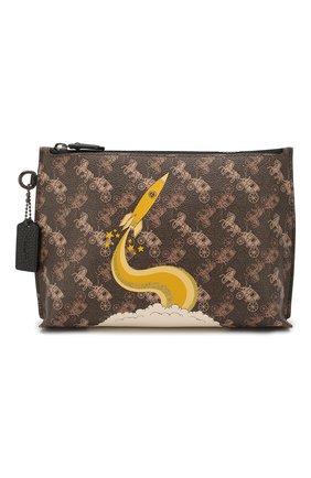 Женские кожаный футляр для документов COACH коричневого цвета, арт. 86105   Фото 1