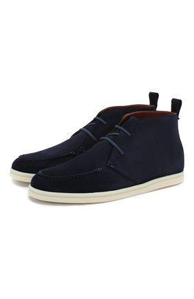 Женские замшевые ботинки namib LORO PIANA темно-синего цвета, арт. FAI9976   Фото 1
