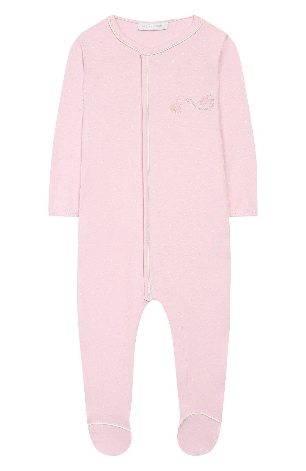 Детский хлопковый комбинезон MAGNOLIA BABY розового цвета, арт. E103-22-PK   Фото 1