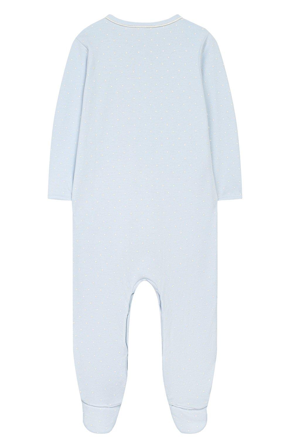 Детский хлопковый комбинезон MAGNOLIA BABY голубого цвета, арт. E103-22-LB | Фото 2 (Рукава: Длинные; Материал внешний: Хлопок)