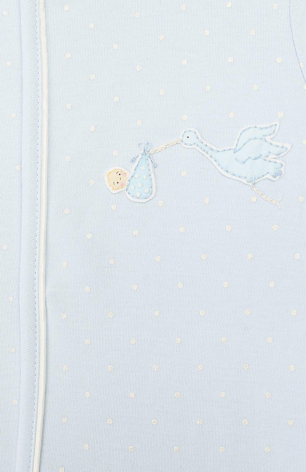 Детский хлопковый комбинезон MAGNOLIA BABY голубого цвета, арт. E103-22-LB | Фото 3 (Рукава: Длинные; Материал внешний: Хлопок)