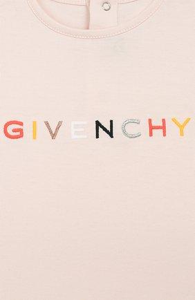 Детский хлопковая футболка GIVENCHY розового цвета, арт. H05125 | Фото 3