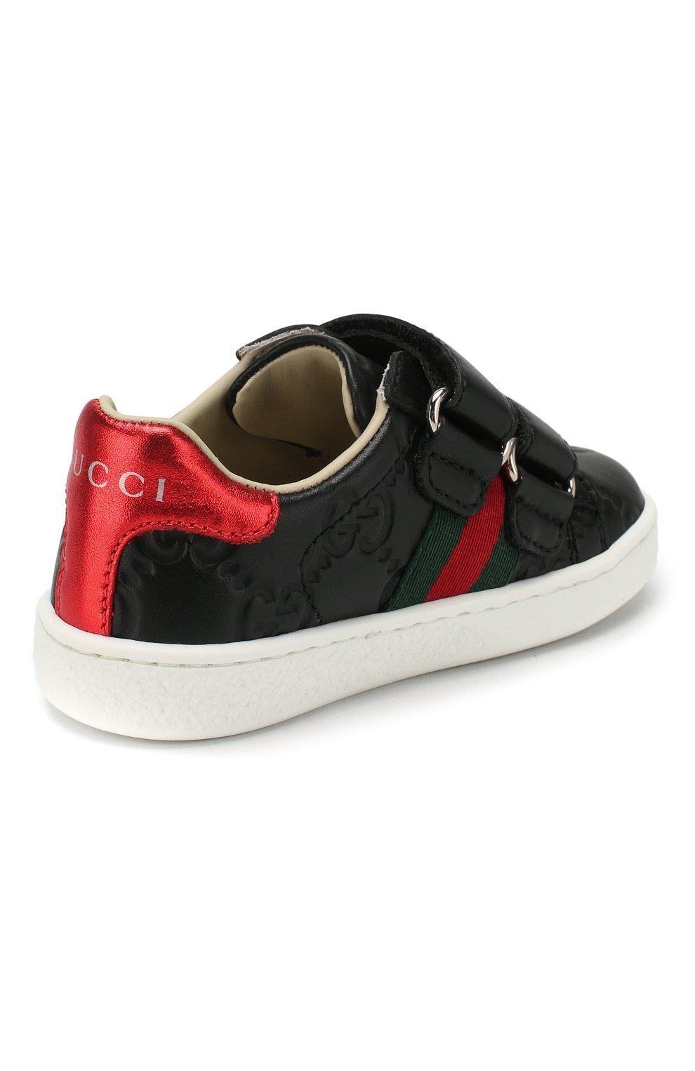 Детские кожаные кеды GUCCI черного цвета, арт. 455447/DF720 | Фото 3 (Материал внутренний: Натуральная кожа; Кросс-КТ: велькро)