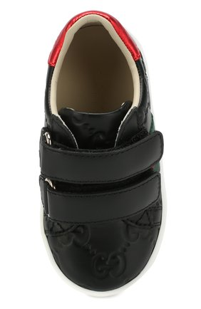 Детские кожаные кеды GUCCI черного цвета, арт. 455447/DF720 | Фото 4 (Материал внутренний: Натуральная кожа; Кросс-КТ: велькро)