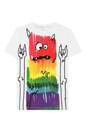 Детская хлопковая футболка STELLA MCCARTNEY белого цвета, арт. 588484/S0J77 | Фото 1