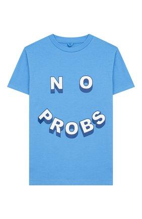 Детская хлопковая футболка STELLA MCCARTNEY голубого цвета, арт. 588484/S0JF7 | Фото 1