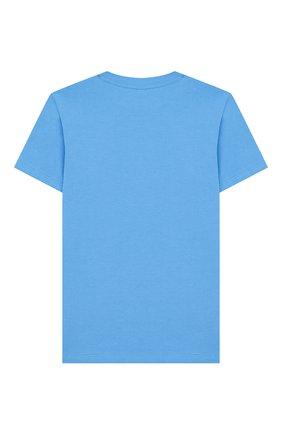 Детская хлопковая футболка STELLA MCCARTNEY голубого цвета, арт. 588484/S0JF7 | Фото 2