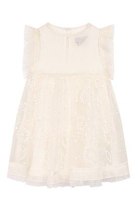 Детское шелковое платье STELLA MCCARTNEY белого цвета, арт. 589320/S0KD6 | Фото 1