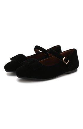 Детские туфли с застежкой AGE OF INNOCENCE черного цвета, арт. 000013/ELLEN VELVET/27-33 | Фото 1