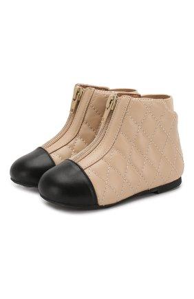 Детские кожаные ботинки AGE OF INNOCENCE бежевого цвета, арт. 000143/NIC0LE/22-28 | Фото 1