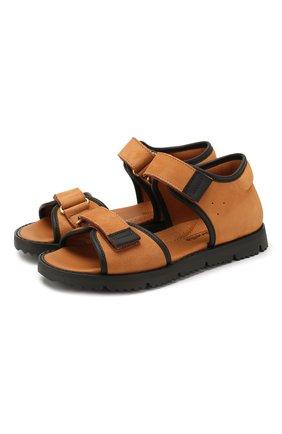 Детские кожаные сандалии RONDINELLA коричневого цвета, арт. 0966/6110/31-33 | Фото 1
