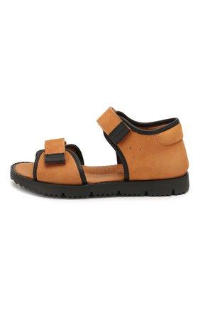 Детские кожаные сандалии RONDINELLA коричневого цвета, арт. 0966/6110/31-33 | Фото 2