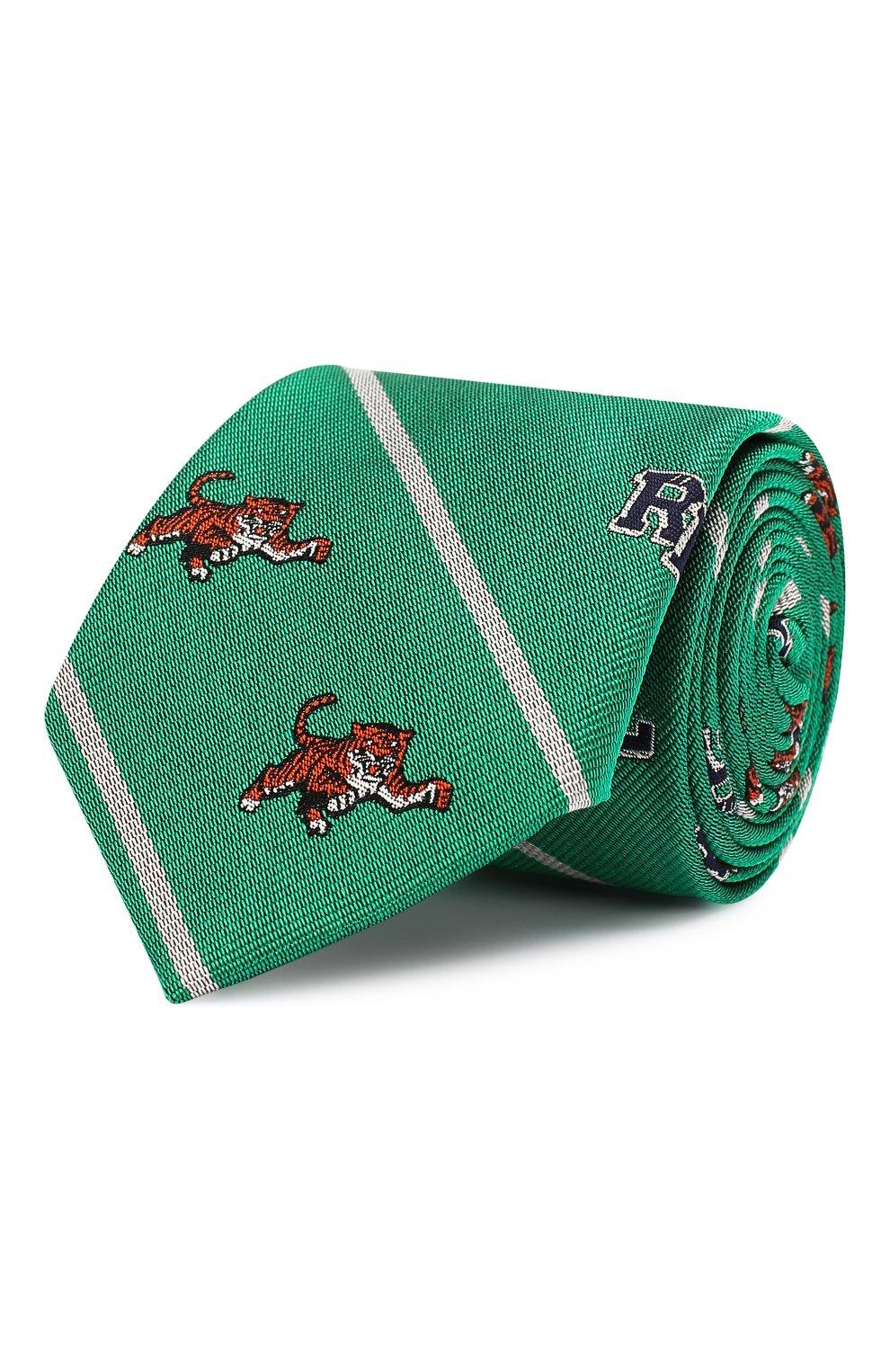 Детский шелковый галстук POLO RALPH LAUREN зеленого цвета, арт. 351794091   Фото 1 (Материал: Текстиль, Шелк)