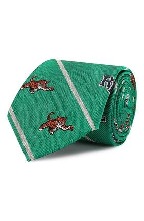 Детский шелковый галстук POLO RALPH LAUREN зеленого цвета, арт. 351794091 | Фото 1