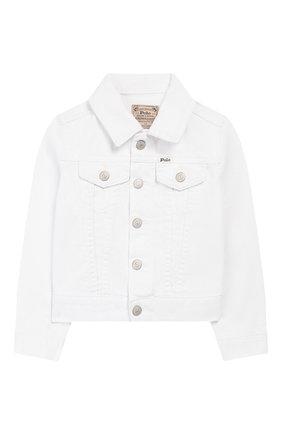 Детская джинсовая куртка POLO RALPH LAUREN белого цвета, арт. 311751711 | Фото 1