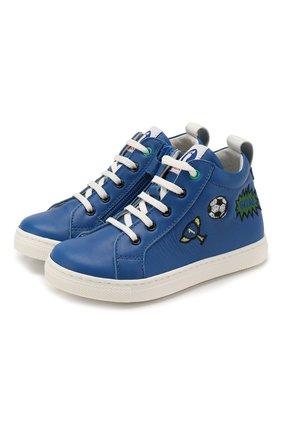 Детские кожаные кеды WALKEY синего цвета, арт. Y1B4-40636-0092/25-29 | Фото 1