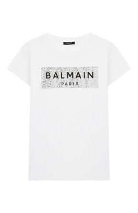 Детская хлопковая футболка BALMAIN белого цвета, арт. 6M8001/MA030/4-10 | Фото 1