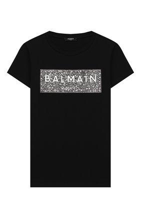 Детская хлопковая футболка BALMAIN черного цвета, арт. 6M8001/MA030/4-10 | Фото 1