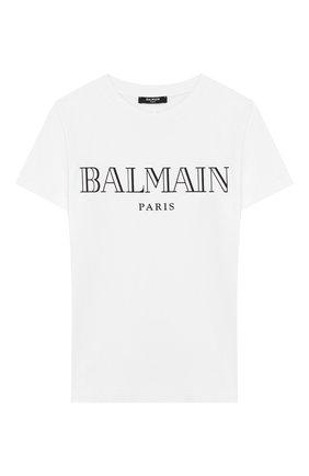 Детская хлопковая футболка BALMAIN белого цвета, арт. 6M8721/MX030/4-10 | Фото 1