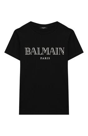 Детская хлопковая футболка BALMAIN черного цвета, арт. 6M8721/MX030/4-10 | Фото 1